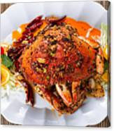 Whole Cooked Dungeness Crab With Peanut Sauce And Spices On Whit Canvas Print