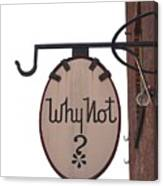 Why Not Vintage Sign Canvas Print