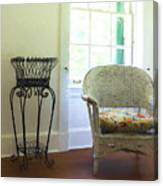 Wicker Chair And Planter Canvas Print