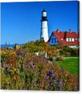 Wild Flowers Fading At The Portland Head Light Canvas Print