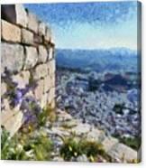 Wild Flowers On Loophole In Palamidi Castle Canvas Print