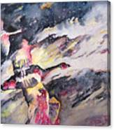 Wild Geese Flying In A Snow Storm Canvas Print