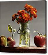 Wild Red Apples With Marigolds Canvas Print