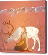 Wild Reindeer And Young Woman Becoming Friends - Poetic Painting Canvas Print
