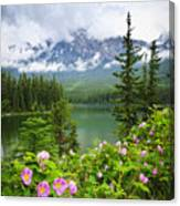 Wild Roses And Mountain Lake In Jasper National Park Canvas Print