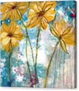 Wild Sunflowers- Art By Linda Woods Canvas Print