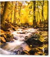 Wild Waterfalls Flowing Through A Forest Canvas Print