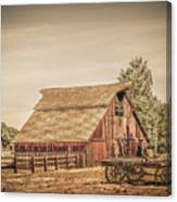 Wild West Barn And Hay Wagon Canvas Print