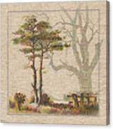 Wildcraft Trees Print On Linen Canvas Print
