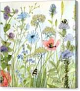 Wildflower And Bees Canvas Print