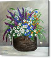 Wildflower Basket Acrylic Painting A61318 Canvas Print