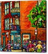Wilensky Diner Little League Expo Kids Baseball Painting Montreal Scene Canadian Art Carole Spandau  Canvas Print