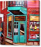 Wilenskys Cafe On Fairmount In Montreal Canvas Print