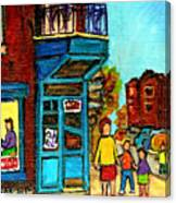 Wilensky's Counter With School Bus Montreal Street Scene Canvas Print