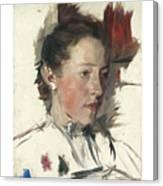 Wilhelm Leibl 1844 - 1900 German Bauernmadchen Farm Girl Canvas Print