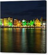 Willemstad And Queen Emma Bridge At Night Canvas Print