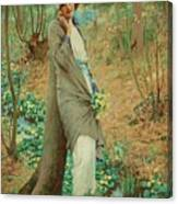 William Henry Margetson, Woman In A Spring Landscape. Canvas Print