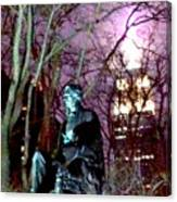 William Seward Statue And Empire State Bldg With Trees Canvas Print