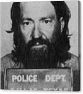 Willie Nelson Mug Shot Vertical Black And White Canvas Print