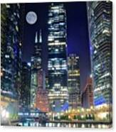 Willis Tower And Moon Canvas Print