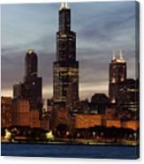 Willis Tower At Dusk Aka Sears Tower Canvas Print