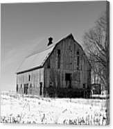 Willow Barn Bw Canvas Print