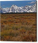 Willow Flats At Grand Teton Panorama Canvas Print