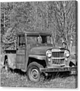 Willys Jeep Pickup Truck Monochrome Canvas Print