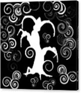 Wind Dancing - White On Black Silhouettes Canvas Print
