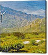 Wind Turbine Farm Palm Springs Ca Canvas Print