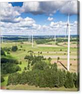 Wind Turbines In Suwalki. Poland. View From Above. Summer Time. Canvas Print