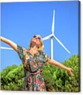 Wind Turbines Woman Canvas Print
