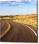 Winding Desert Road At Sunset Canvas Print