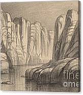 Winding River Through A Rock Formation (philae, Egypt) Canvas Print