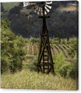 Windmill And Vineyards Canvas Print