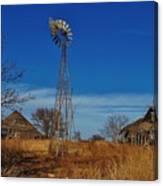 Windmill At An Old Farm In Kansas Canvas Print