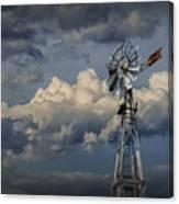 Windmill Energy On Old Prairie Farm Canvas Print