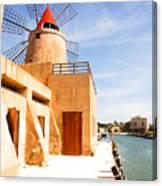 Windmill On Canal - Trapani Salt Flats Canvas Print