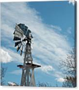 Windmill With White Wood Base Canvas Print