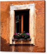 Window And Flowers Rome  Canvas Print