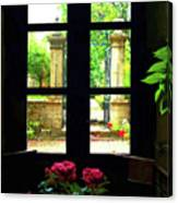 Window And Roses Canvas Print