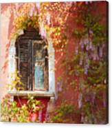 Window In Venice With Wisteria Canvas Print