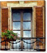 Window Shutters And Flowers I Canvas Print