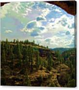 Window View From Inside Gila Cliff Dwellings Canvas Print