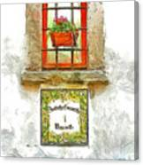 Window With Flower Pot Canvas Print
