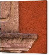 Windowsill And Orange Wall San Miguel De Allende Canvas Print