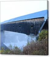 Windsor Cornish Covered Bridge Fog Canvas Print