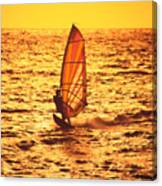 Windsurfer At Sunset Canvas Print