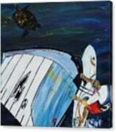 Windsurfing And Sea Turtle Canvas Print
