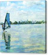 Windsurfing In The Bay Canvas Print